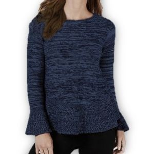 Style & Co Marled Bell-Sleeve Sweater Blue Black